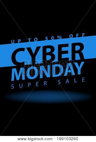 Cyber Monday Super Sale Poster. Clearance Mega Discount Flyer Template. Big Special Offer Season. Ve