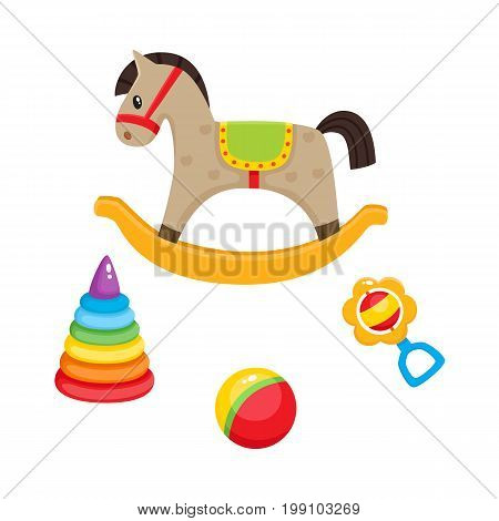 Set of vector baby toys in flat style. Rocking horse, plastic pyramid , striped ball and rattle toy. Isolated illustration on a white background. Children education, growth and development concept.