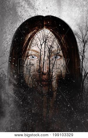 3d illustration of close up scary ghost woman in the woods,Horror background mixed media
