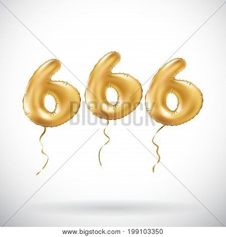 Vector Golden Number 666 Six Hundred Sixty Six Metallic Balloon. Party Decoration Golden Balloons. A