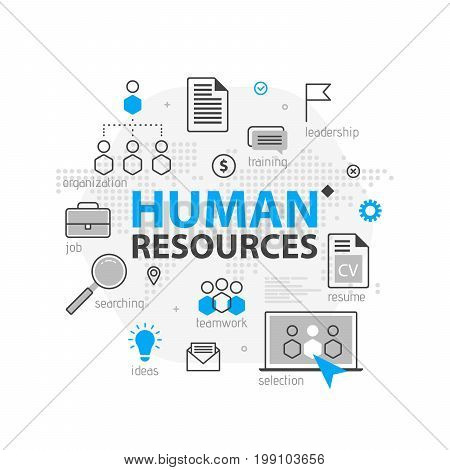 Human Resources Web Banner Concept. Outline Line Business Icon Set. Hr Strategy Team, Teamwork And C