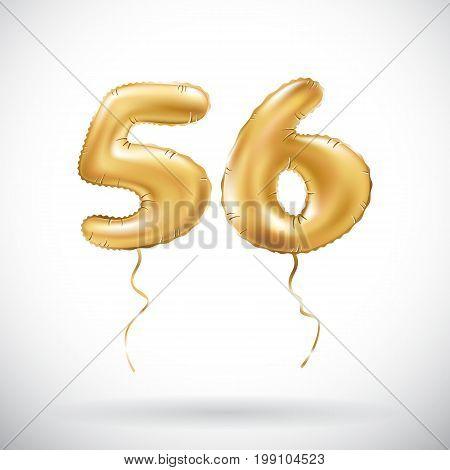 Vector Golden Number 56 Fifty Six Metallic Balloon. Party Decoration Golden Balloons. Anniversary Si