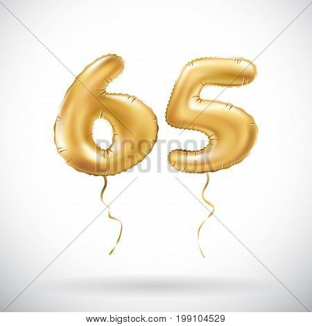 Vector Golden Number 65 Sixty Five Metallic Balloon. Party Decoration Golden Balloons. Anniversary S