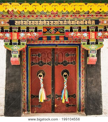 Colorful Entrance Door To Norbulinka Monastery, Dalailama's Summer Residence