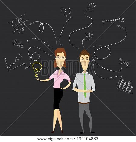 Businesswoman  and business man or office workers with a good idea and standing against doodle business sketch, stock vector illustration