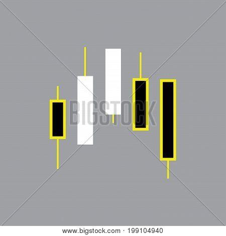 Icon chart with japan candlesticks, cartoon vector illustration