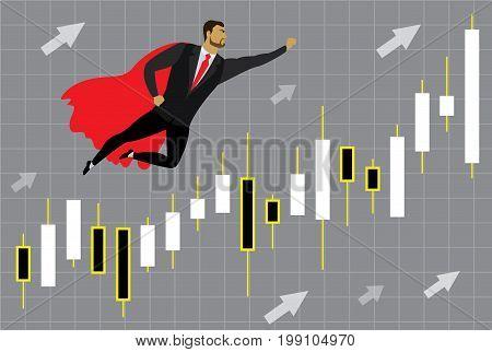 businessman superhero and chart with japan candlesticks to success, cartoon vector illustration