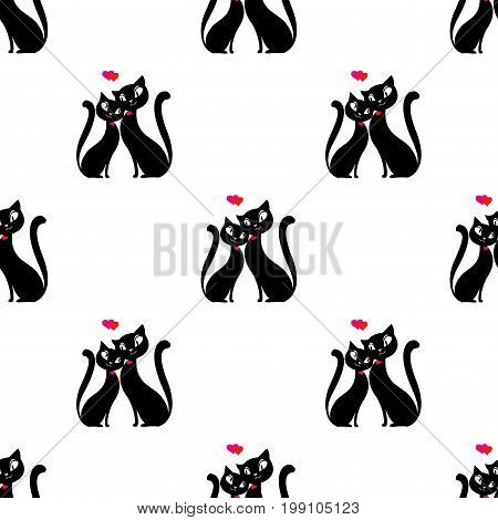 Seamless pattern Couple of cats in love. Stock vector illustration