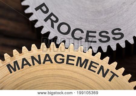 Closeup of process management concept on interlocked cogwheels