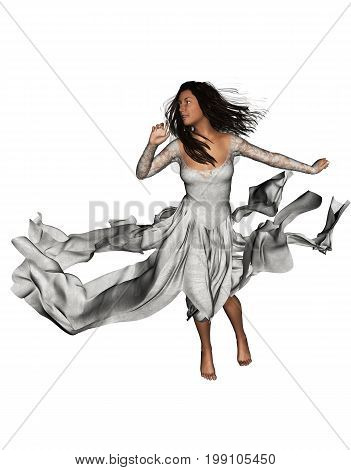 3d rendering of Ghost bride posing for halloween concept background, isolated on white background