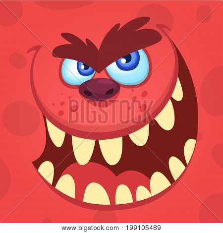 Cartoon angry monster. Vector illustration of funny cartoon troll, goblin or gremlin