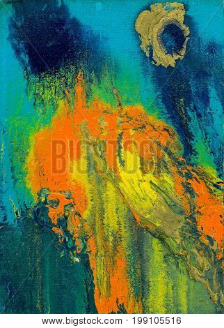 Abstract blue and orange artistic background. Spots and streaks of colors.