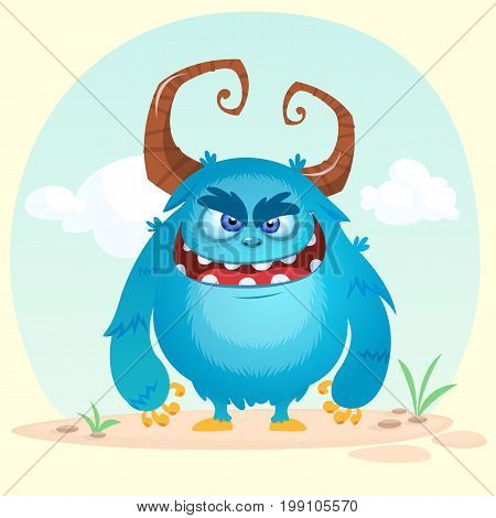 Cartoon angry monster. Vector illustration isolated on simple background
