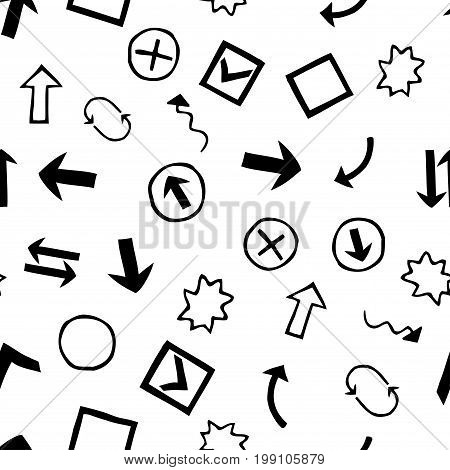 Seamless pattern with Doodle  Hand-Drawn Design Elements.On white background.Stock vector illustration