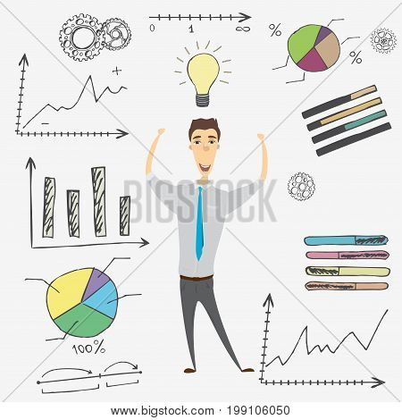 Cartoon businessman and doodle business set on background, idea concept, stock vector illustration