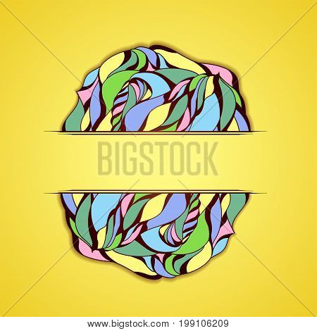 Abstract colorful frame on yellow background. Illustration 10 version