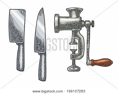 Set professional kitchen knifes and classic manual meat grinde. Vector black vintage engraving illustration for menu, poster, label. Isolated on white background