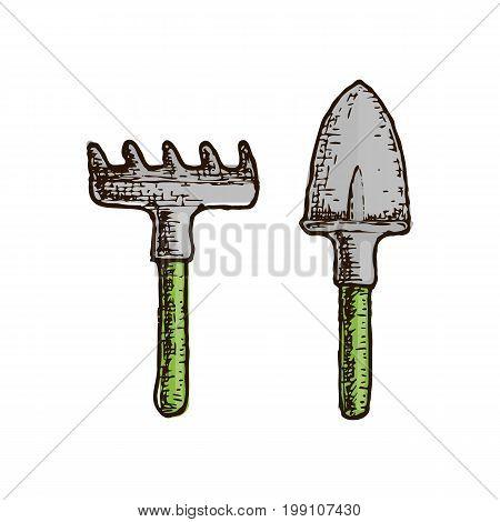 Garden tool and farming instrument - scoop and rake. Farming equipment sketch illustration. Vector