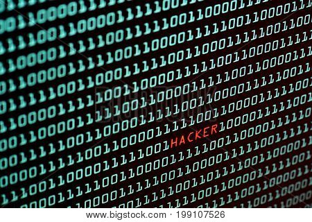 Hacker text and binary code concept from the desktop computer screen, selective focus, Security Technology concept
