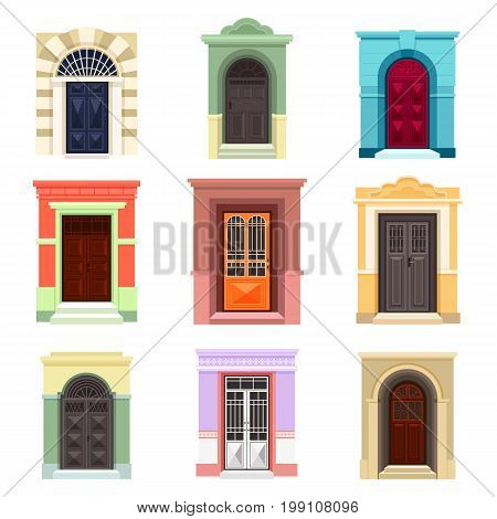 Different design for classic doors with wall pieces. Outdoor view on old entrance or entry with handknob, exit with glass. Set of isolated gates. Architecture and building facade exterior view theme