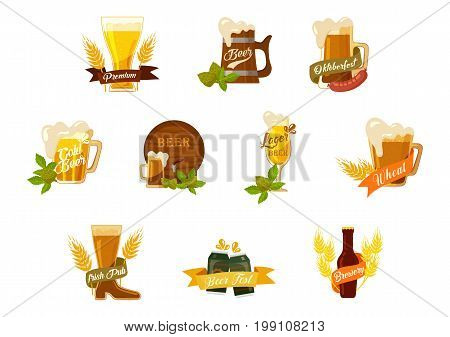 Set of isolated beer mugs with foam and wheat spica or barley leaves, glassware bottles with dark or light beer, metallic cans and wood keg or kegel. Alcohol and brewery theme, restaurant label