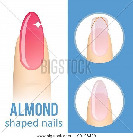 Nail manicure. How to make almond nail shape. Vector