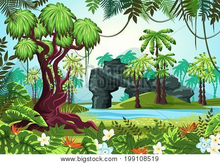 Jungle forest panorama with river or lake, pond and rocks, palms and evergreen trees, bushes or shrubs, flowers and fern. Nature landscape and wild tropics scene. Ecology and wood theme