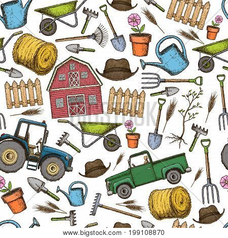 Seamless background of colorful sketch farming equipment icons. Farming tools and agricultural machines decoration. Vector