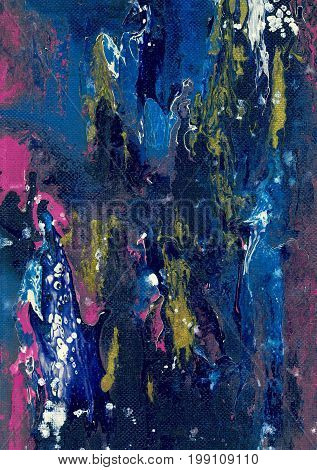 Abstract blue artistic background. Spots and streaks of colors.
