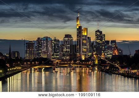 Looking down the Main River to the CBD in Frankfurt Am Main