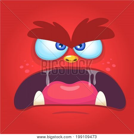 Monsters face cartoon devil. Carnival mask or avatar