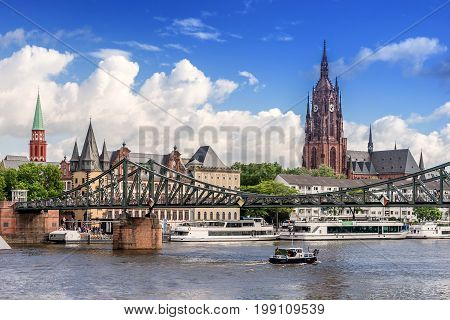 Looking across the Main River to Eiserner Steg bridge  in Frankfurt AM Main