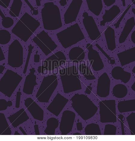 Hand painted witchcraft silhouettes seamless pattern on the purple starry background. Includes bottles potions elixirs candles gems crystals books of spells and alchemy torn pages and magic wands.