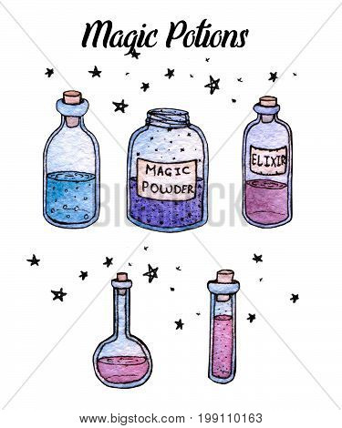 Watercolor and ink hand painted potions and witchy bottles isolated on the white background. Set of elixirs.