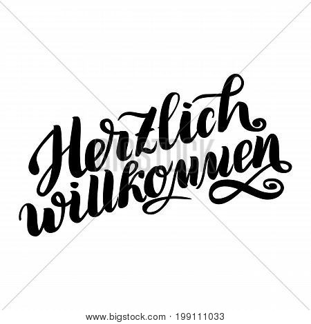 Herzlich willkommen. Welcome. Traditional German Oktoberfest bier festival . Vector hand-drawn brush lettering illustration isolated on white