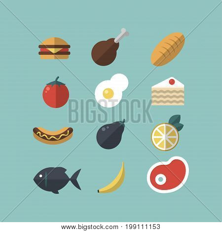 Set of food icons. Meat, vegetables, hot-dog, cake, bread, fish. Flat-style on blue background ESP10