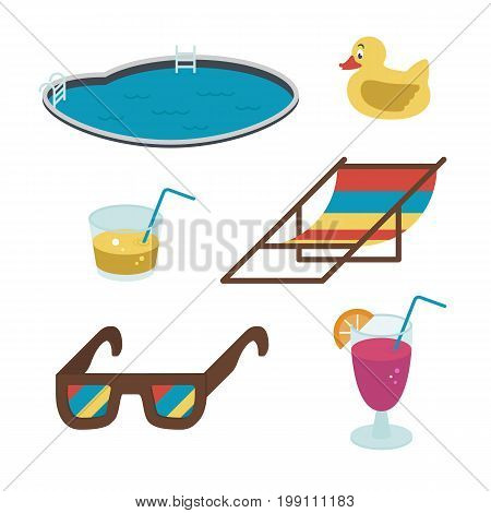Vector summer icons. Flat-style drinks, glasses, pool colored on white background. EPS10