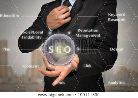Businessman with show hand posture to present the SEO icon with business success model on photo blurred of cityscape backgroundElements of this image furnished by NASA Business technology concept