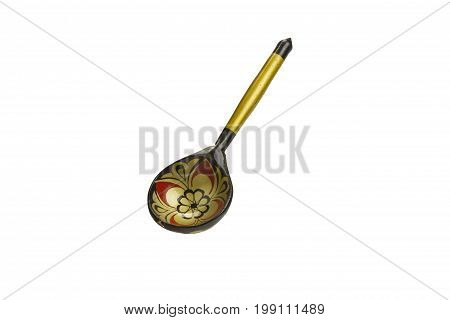 Wooden inlaid decorative spoon ethnic handicrafts isolated on white background