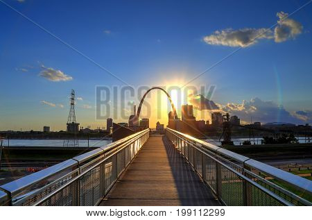 St. Louis Missouri skyline from Malcolm W. Martin Memorial Park.
