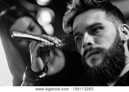 Hair Styling Man In Hair Salon, Blak And White Image, Close Up, Man And Woman