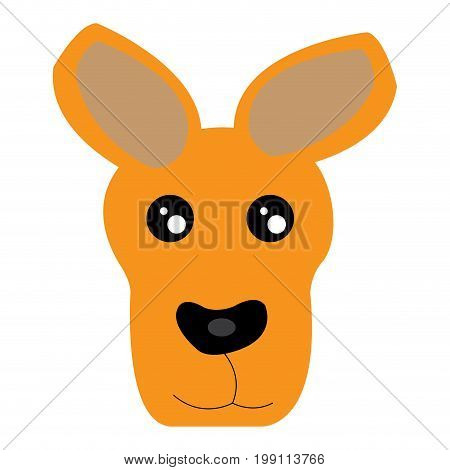 Isolated avatar of kangaroo on a whie background, vector illustration