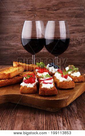 Bread Brushetta Or Authentic Traditional Spanish Tapas Set For L