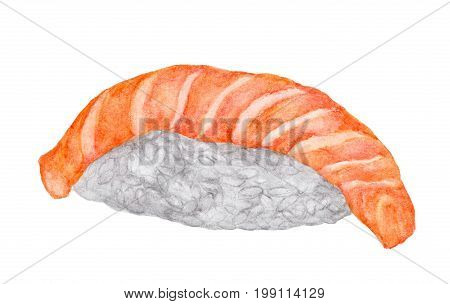 Salmon sushi isolated on white background , with clipping path, Watercolor Japanese food.