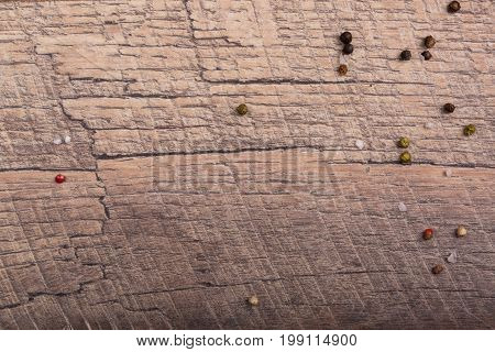 Closeup wooded panel, wooden table with different seasonings, materials for building, raw materials for wooden furniture for a house, living room, bed room, beds, furniture as a wooden background.