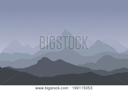 panoramic view of the mountain landscape with fog in the valley below with the alpenglow grey sky and rising sun - vector