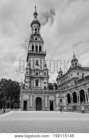 Seville Spain - May 20 2014: Bell Tower in the famous Plaza of Spain in Seville Spain. Black and white photography.