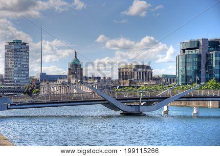 The Custom House across the River Liffey in Dublin Ireland.