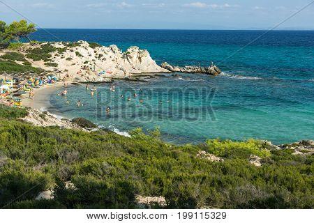 CHALKIDIKI, CENTRAL MACEDONIA, GREECE - AUGUST 26, 2014: Seascape of Orange Beach Kavourotripes at Sithonia peninsula, Chalkidiki, Central Macedonia, Greece