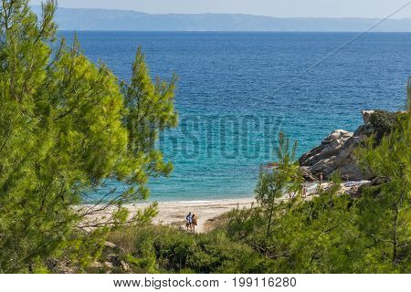 CHALKIDIKI, CENTRAL MACEDONIA, GREECE - AUGUST 26, 2014: Seascape of Fava Beach Vourvourou at Sithonia peninsula, Chalkidiki, Central Macedonia, Greece